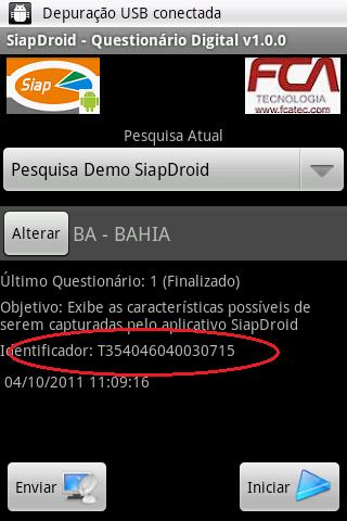 Tela Principal do SiapDroid com o número do Dispositivo