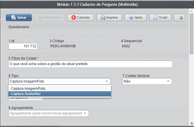 Figura 1: Tela de Inclusão de Perguntas Multimídia (Áudio/Foto).
