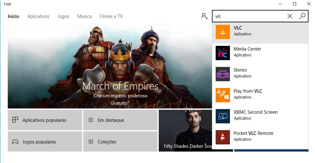 Figura 02 - Pesquisando o VLC na Windows Store