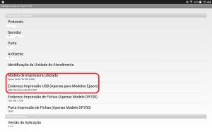 Diretivas para configuração da impressora EPSON com o módulo de impressão Android FIFO