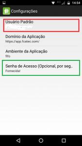 Configurando usuário e senha no App