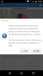 Confirmando o uso do dispositivo para alertas